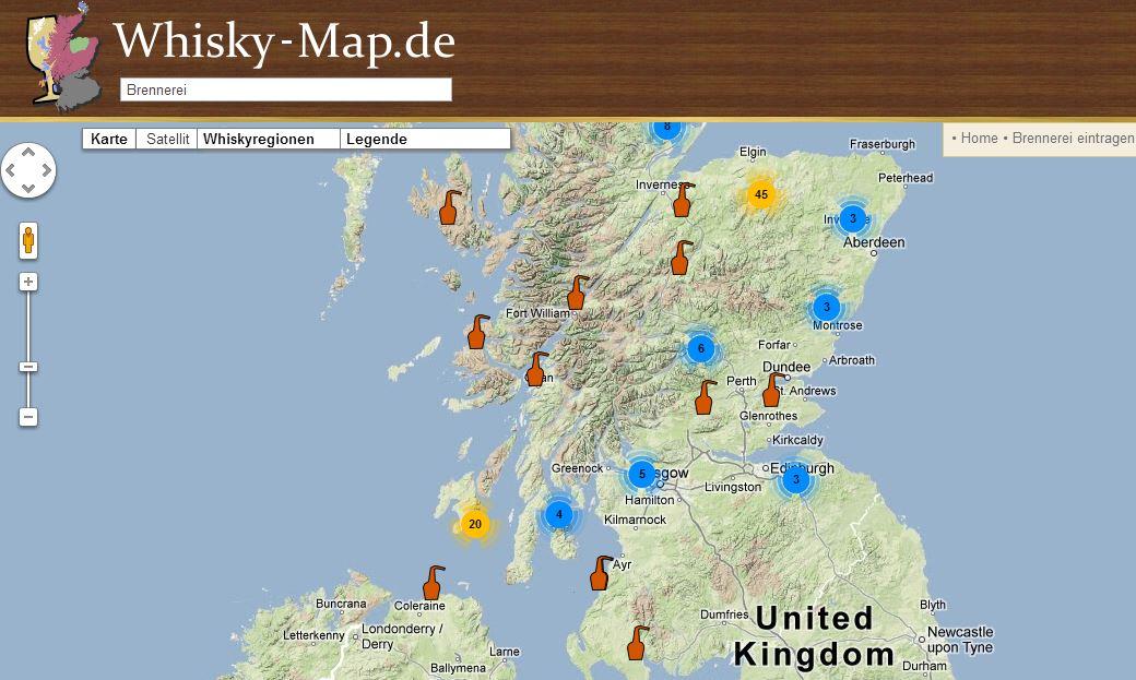 Schottland Karte Whisky.Brennerei Whiskyblog