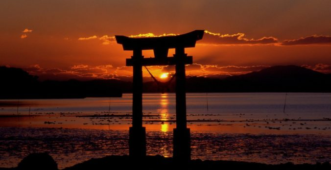 Japan und Whisky Sonnenuntergang